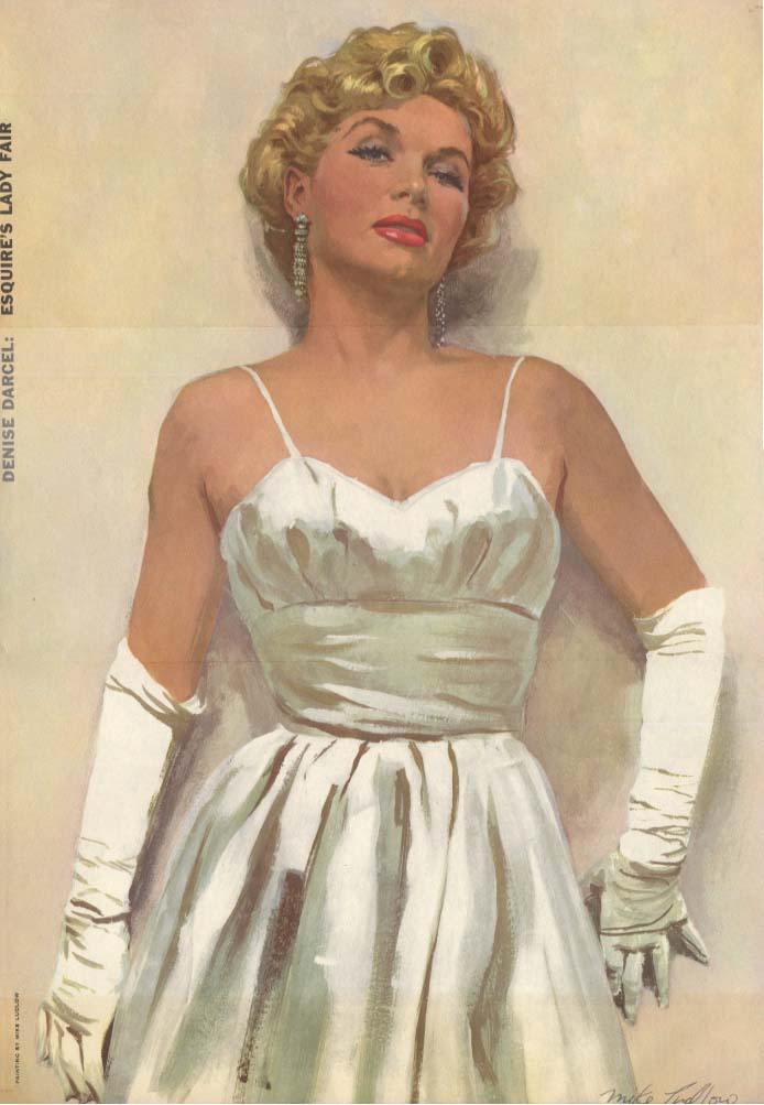 Esquire's Lady Fair Denise Darcel by Mike Ludlow Esquire foldout pin-up 1956
