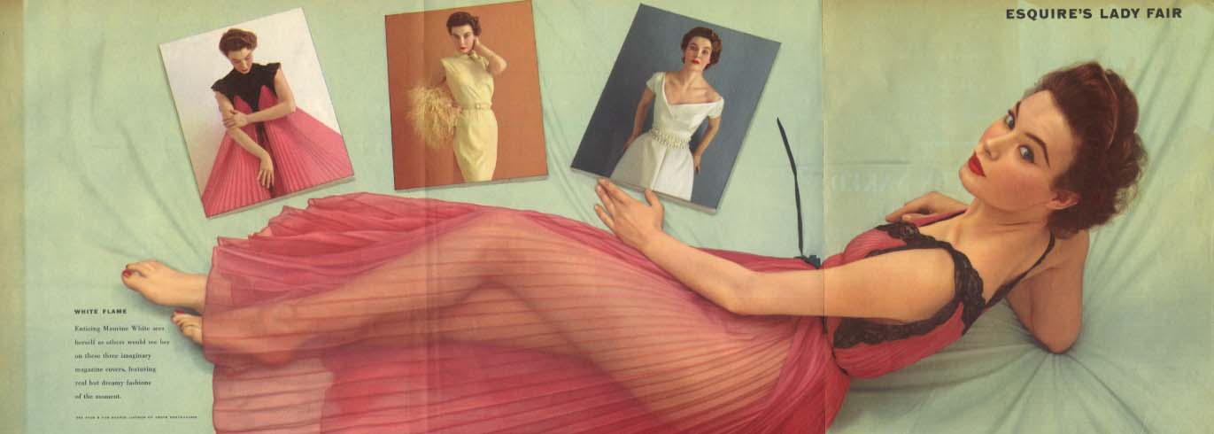 Esquire's Lady Fair Maurine White Esquire foldout pin-up 1953
