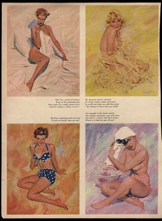 Esquire Girl Portfolio by Mike Ludlow 12 pin-ups on 3 pages 1957