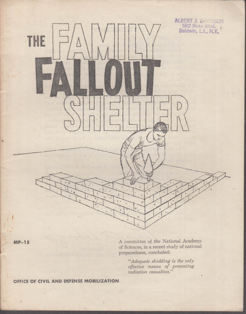 The Family Fallout Shelter Civil Defense Booklet 1959