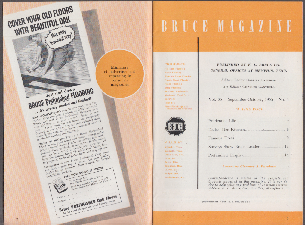 Bruce Wood Flooring MAGAZINE 9-10 1955 Prudential Life; Store Display