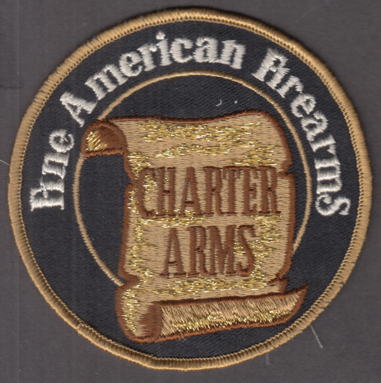 "Charter Arms Fine American Firearms embroidered cloth patch  4"" diameter"