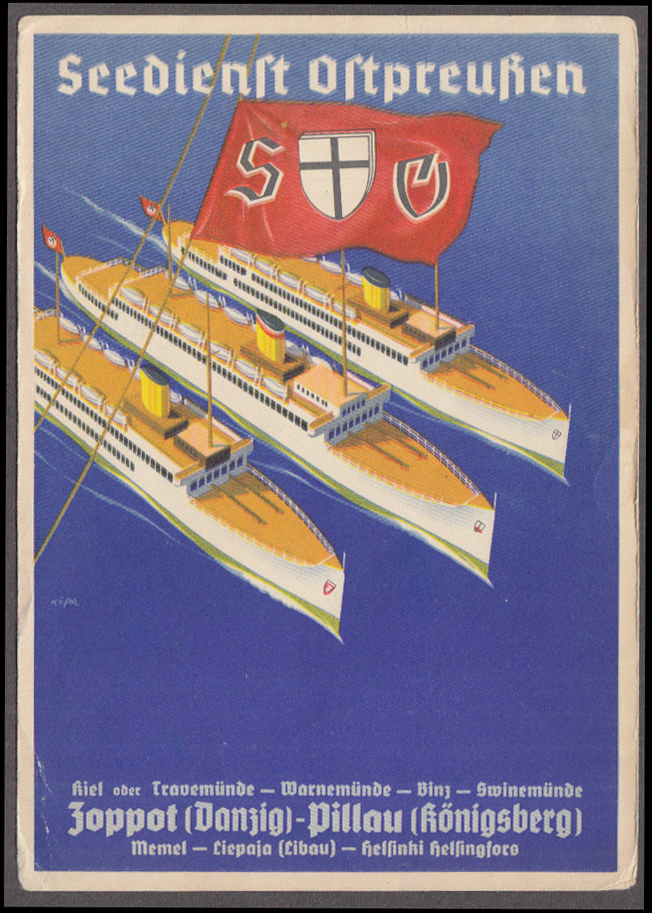East Prussia Naval Service ocean liner ferry post card ca 1940