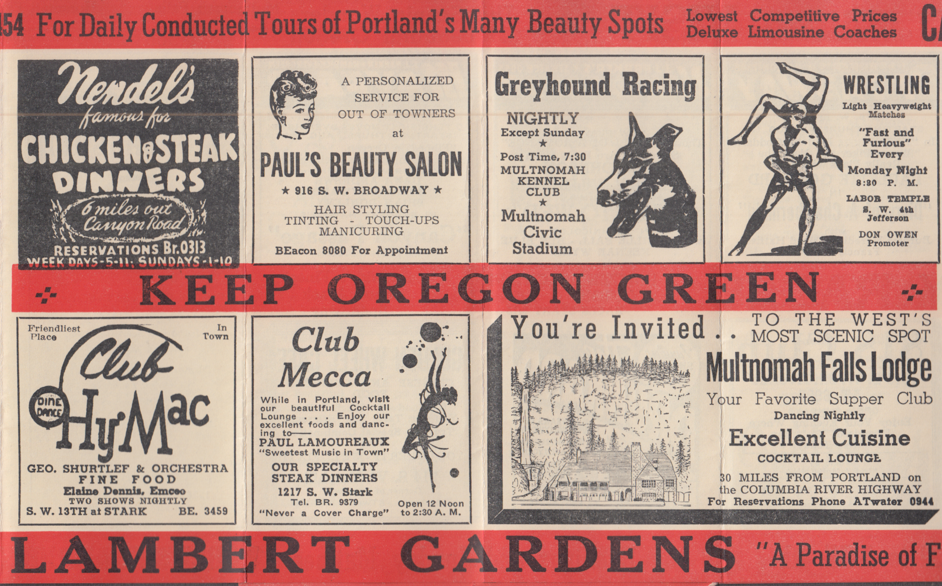 Portland Oregon Entertainment Guide Hotel Congress 1946