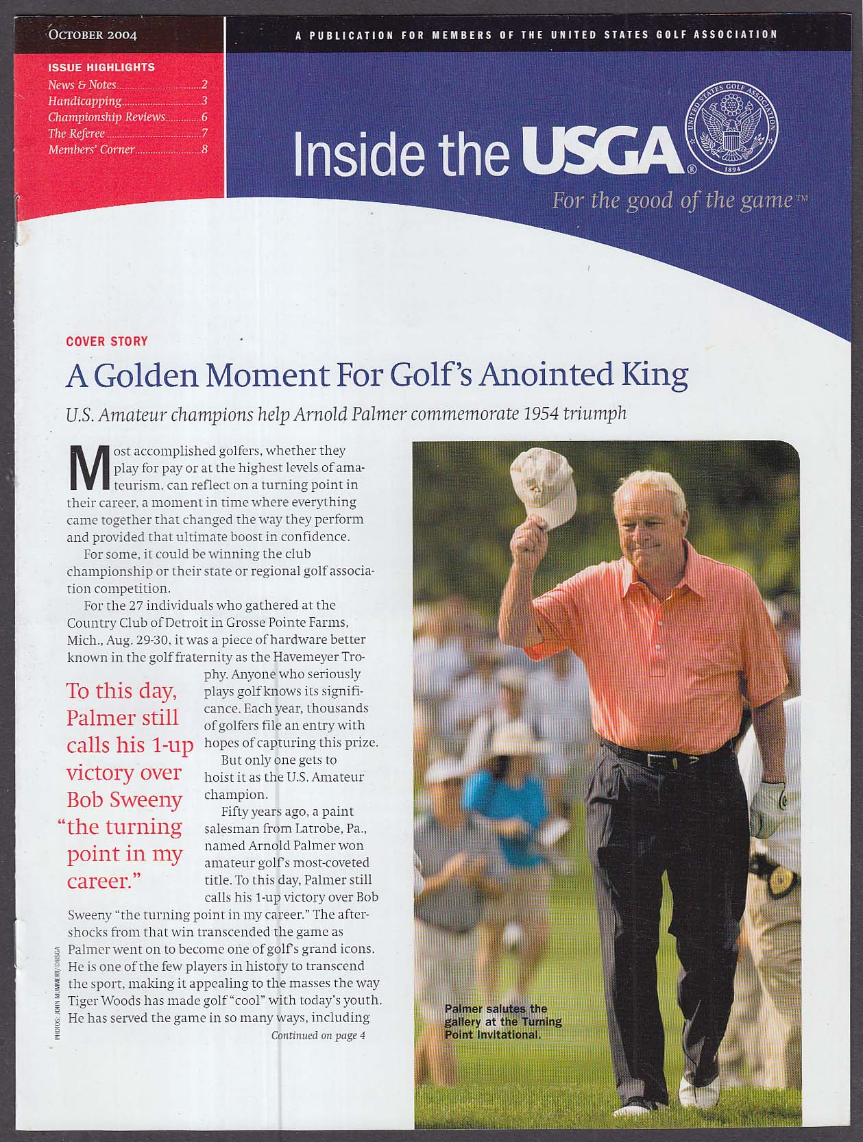 Inside the USGA Members Publication: Arnold Palmer + 10 2004