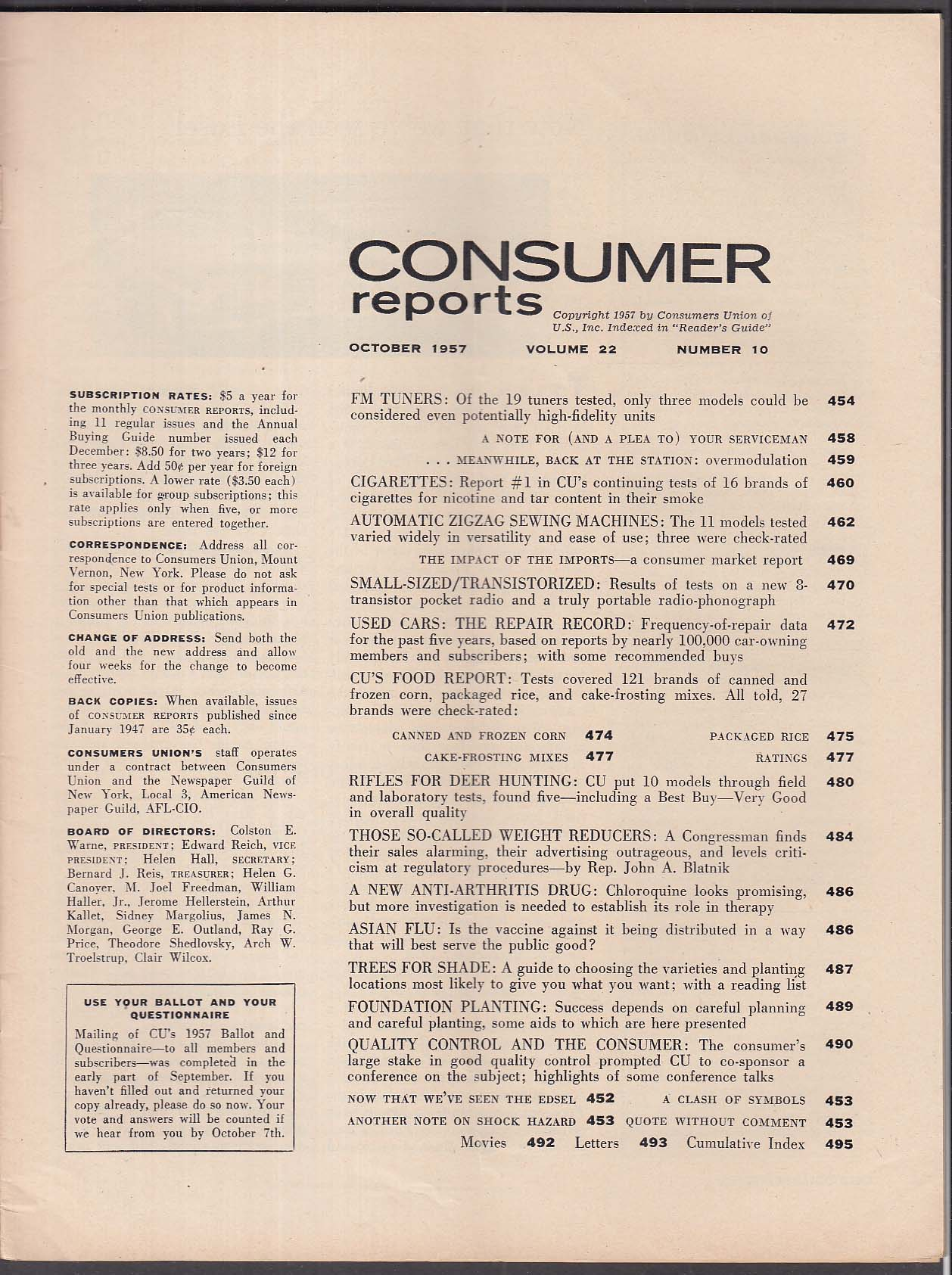 CONSUMER REPORTS Remington 722A Winchester Model 70 Marlin Savage + 10 1957