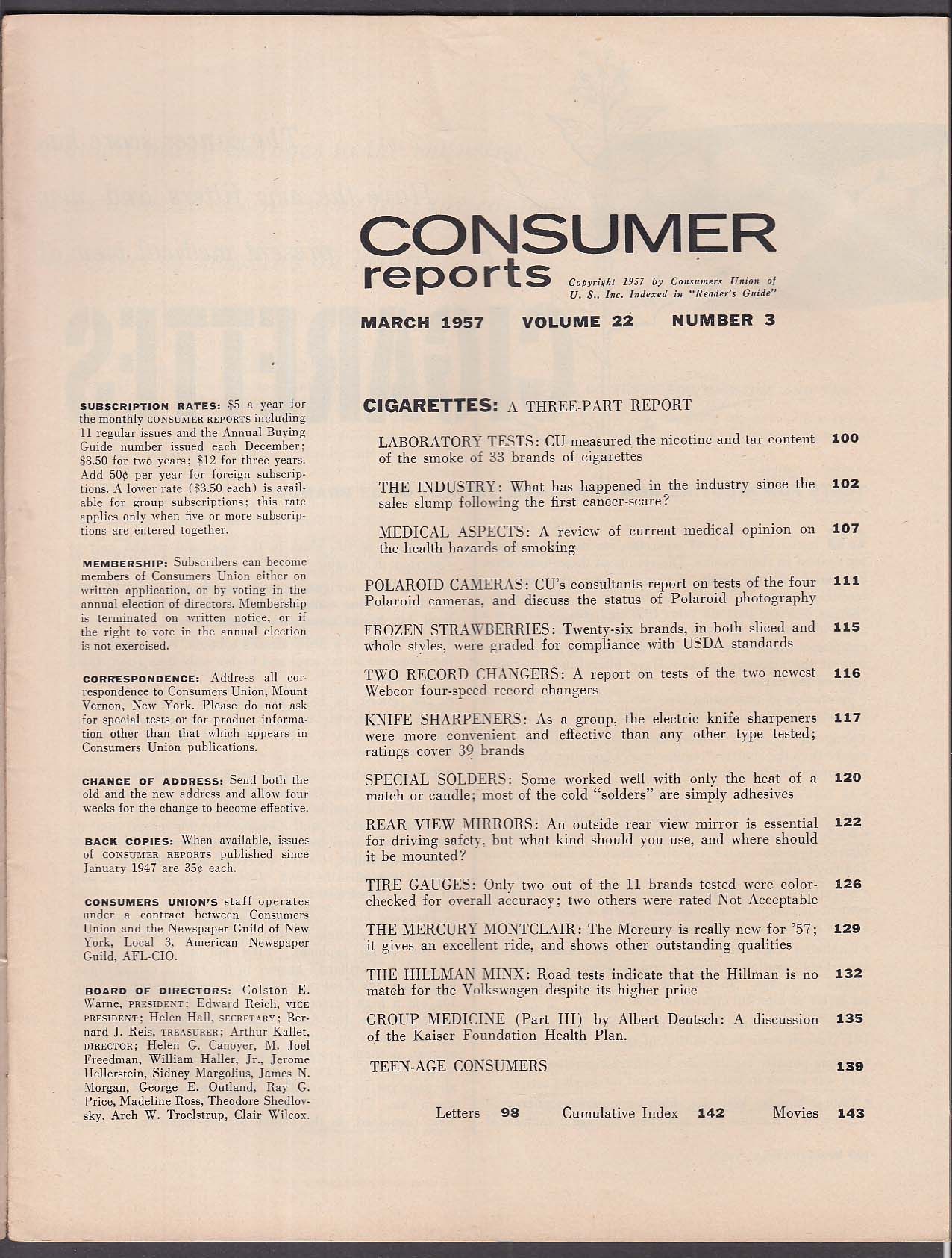 CONSUMER REPORTS Hillman Minx Mercury Montclair road tests 3 1957