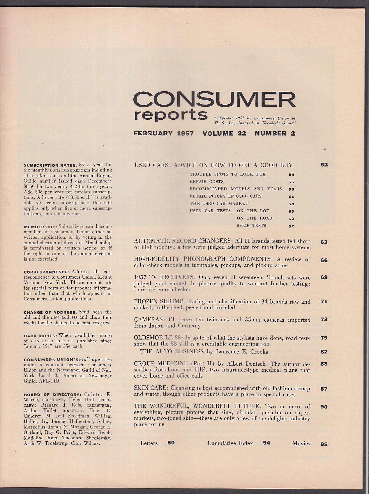 CONSUMER REPORTS Oldsmobile 88 road test; Used Car Buying Guide 2 1957