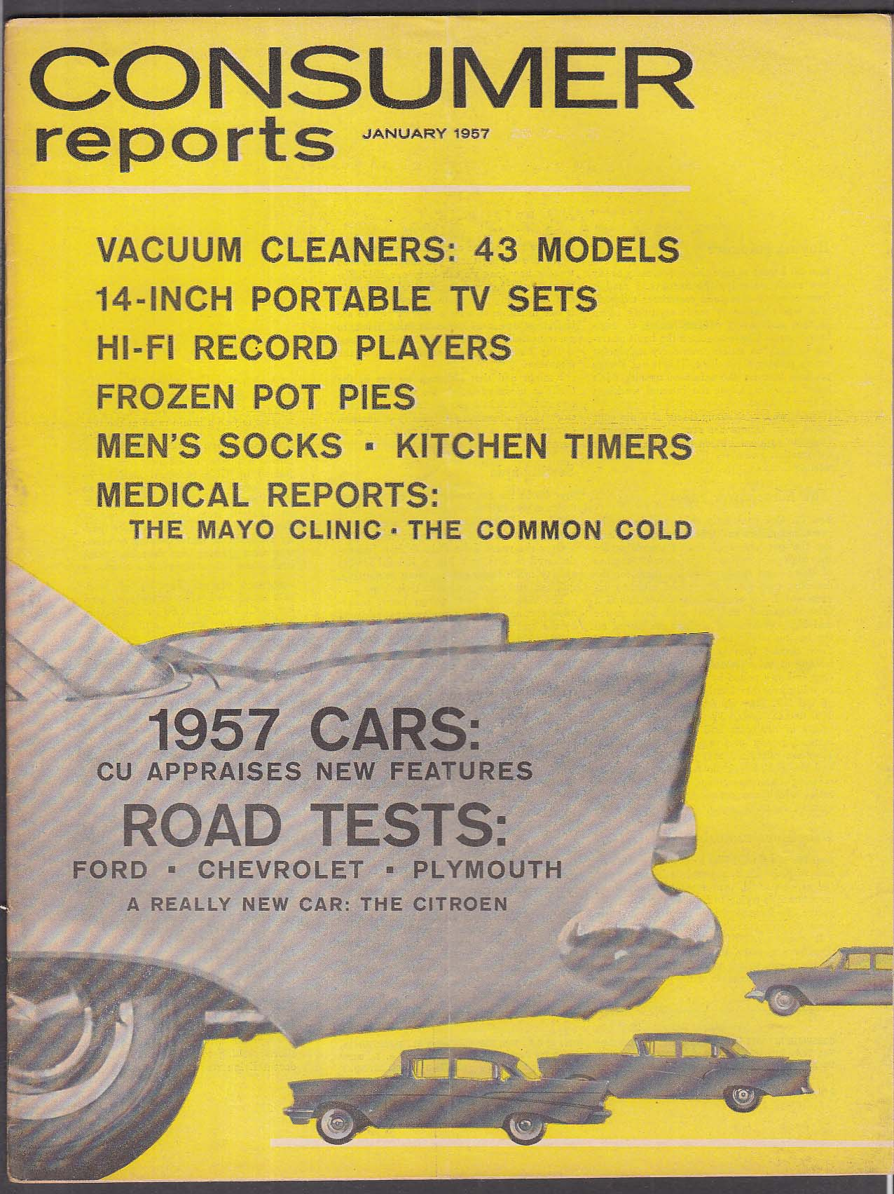 CONSUMER REPORTS Chevy 210 Ford 300 Plymouth Savoy Citroen DS-19 tests 1 1957