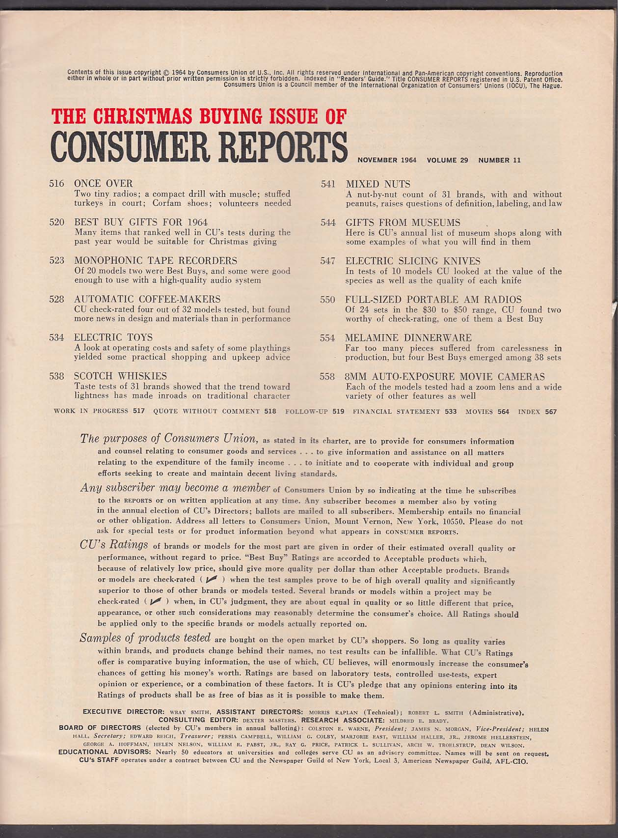 CONSUMER REPORTS Scotch Whiskies Electric Toys Coffee-Mkaers 8mm Cameras 11 1964