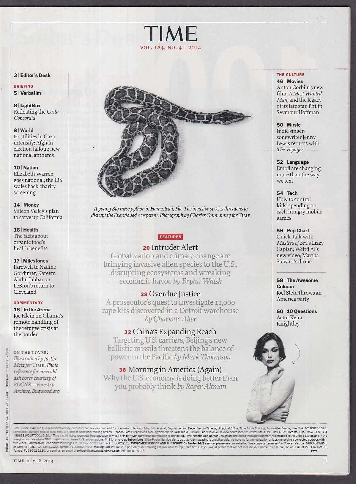 TIME Obama Keira Knightley Invasive Species Elizabeth Warren Gaza + 7/28 2014