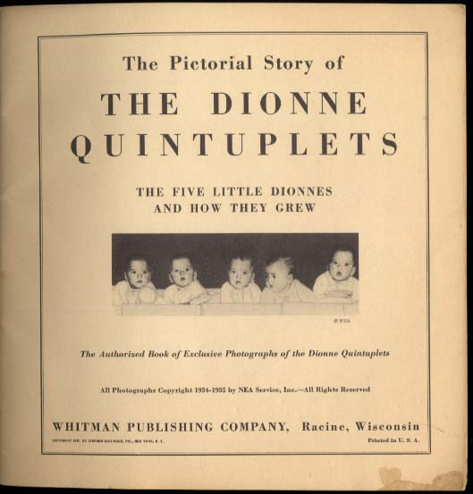 The Story of the Dionne Quintuplets: Whitman 1935