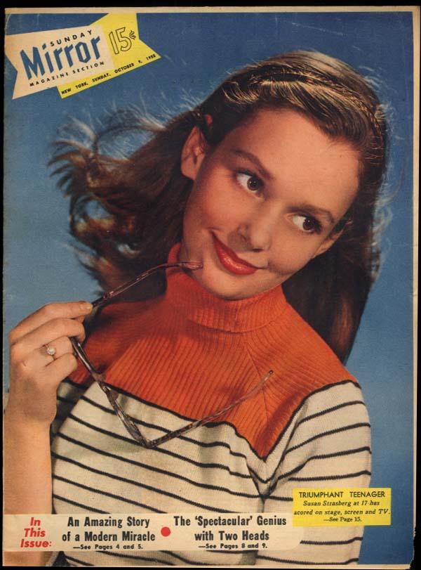 Sunday NY MIRROR Magazine 10/9 1955 Susan Strasberg TV's Sarnoff & Weaver