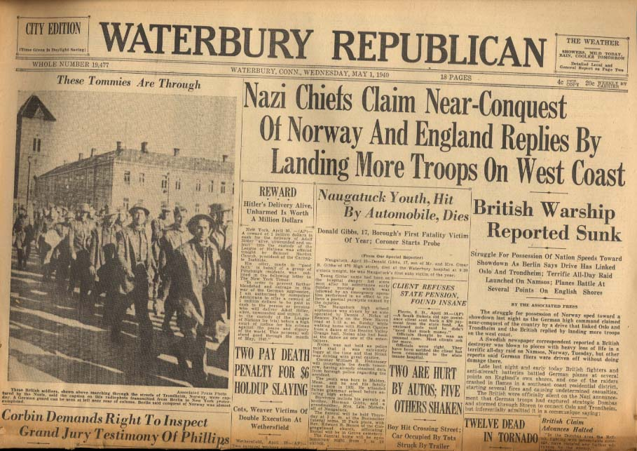 WATERBURY REPUBLICAN 5/1 1940 Nazis Claim Near-Conquest of Norway