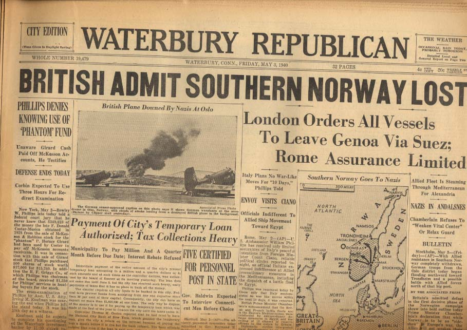 WATERBURY REPUBLICAN 5/3 1940 Brits say southern Norway lost to Nazis; baseball