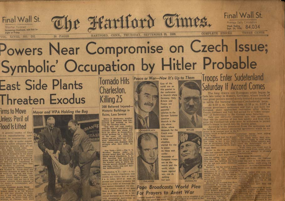 HARTFORD TIMES 9/29 1938 Czech Compromise Likely; Hitler to Move into Sudeten