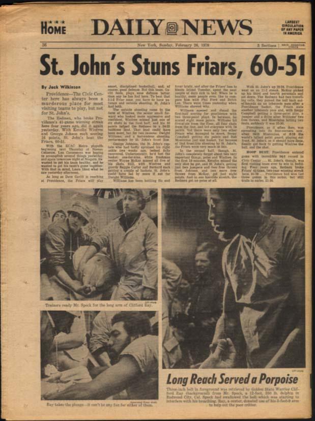 NY DAILY NEWS Sunday 2/26 1978 Eartha Kitt St John's wins; Breslin