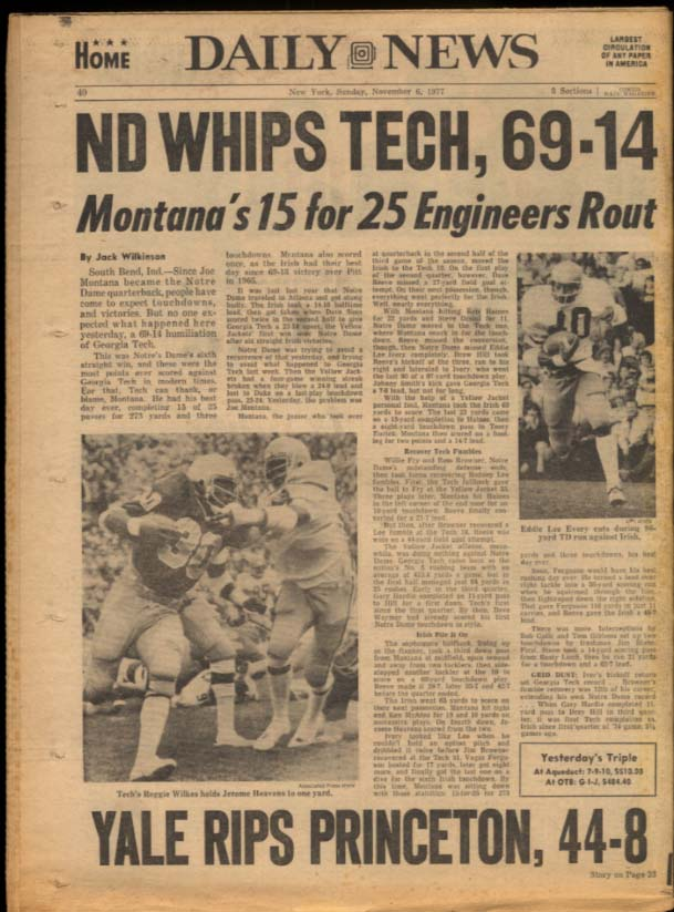 NY DAILY NEWS Sunday 11/6 1977 Montgomery Clift; ND beats GA Tech; Yale wins