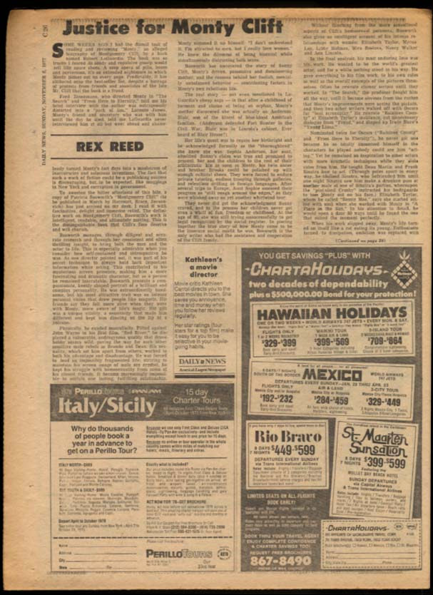 NY DAILY NEWS Sunday 11/6 1977 Montgomery Clift; ND beats GA Tech; Yale wins