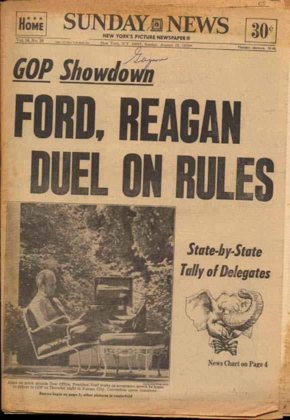NY DAILY NEWS Sunday 8/15 1976 Ford-Reagan Yanks Mets win; Genevieve Bujold
