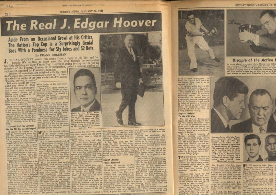 NY DAILY NEWS Sunday 1/10 1965  Sukarno; J Edgar Hoover; Fred Gwynne