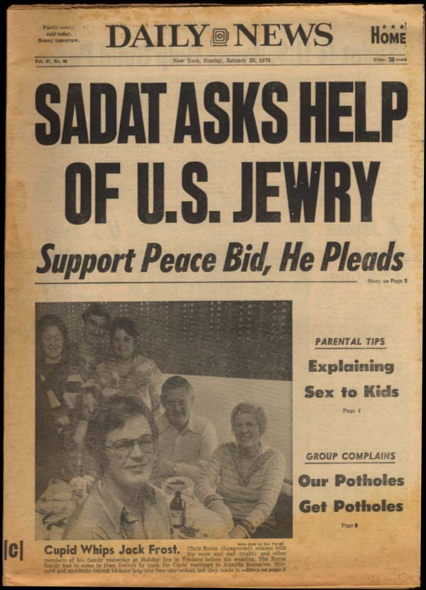 NY DAILY NEWS Sunday 1/29 1978 Sadat ask US Jewry to Help; Ali women superheroes