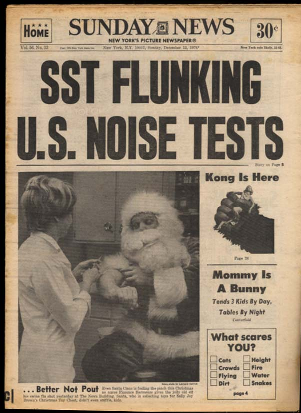 NY DAILY NEWS Sunday 12/12 1976 King Kong; Joe Namath; SST too noisy