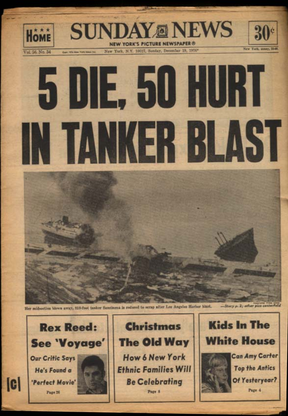 NY DAILY NEWS Sunday 12/19 1976 Tanker Sansinema blast; Vikes, Raiders win