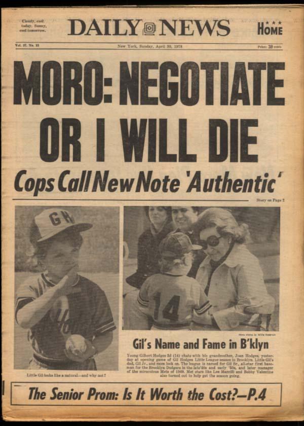 NY DAILY NEWS Sunday 4/30 1978 Yanks lose; Aldo Moro; Goldie Hawn