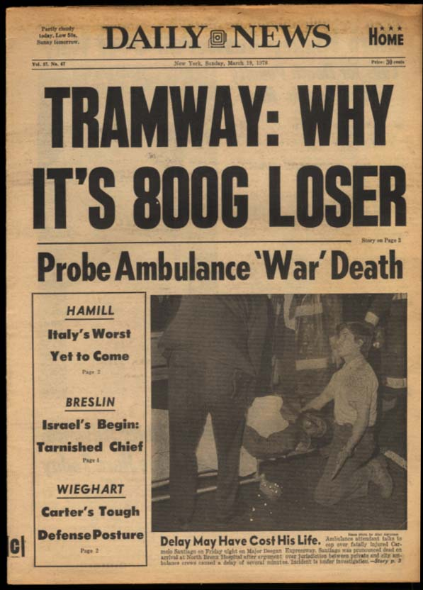NY DAILY NEWS Sunday 3/19 1978 Hamill Breslin Begin UK over MSU Travolta