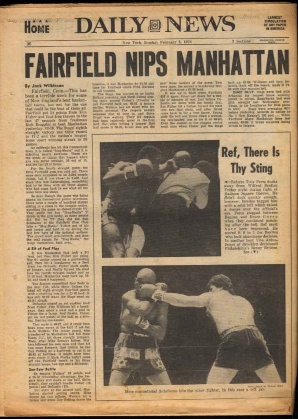 NY DAILY NEWS Sunday 2/5 1978 Louise Lasser; Bruce Jenner; Fairfield wins