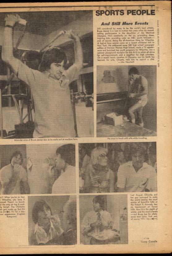 NY DAILY NEWS Sunday 2/5 1978 Louise Lasser; Bruce Jenner; Fairfield wins