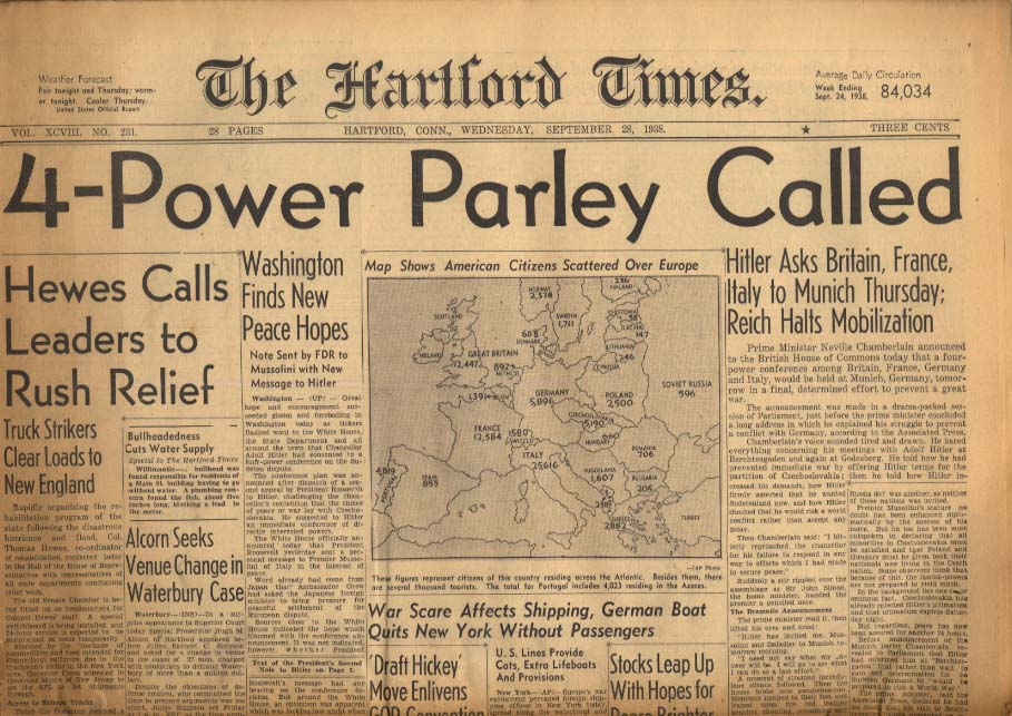 HARTFORD TIMES 9/28 1938 Hitler Calls for 4-Power Meet in Munich