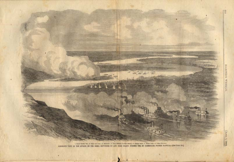 Image for Harper's Weekly ORIGINAL Foote's Flotilla attack Rebels on Island 10 TN 4/5 1862