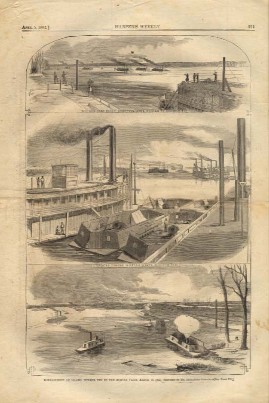 Image for Harper's Weekly ORIGINAL Foot's Flotille Gunboats attack Island 10 TN 4/5 1862