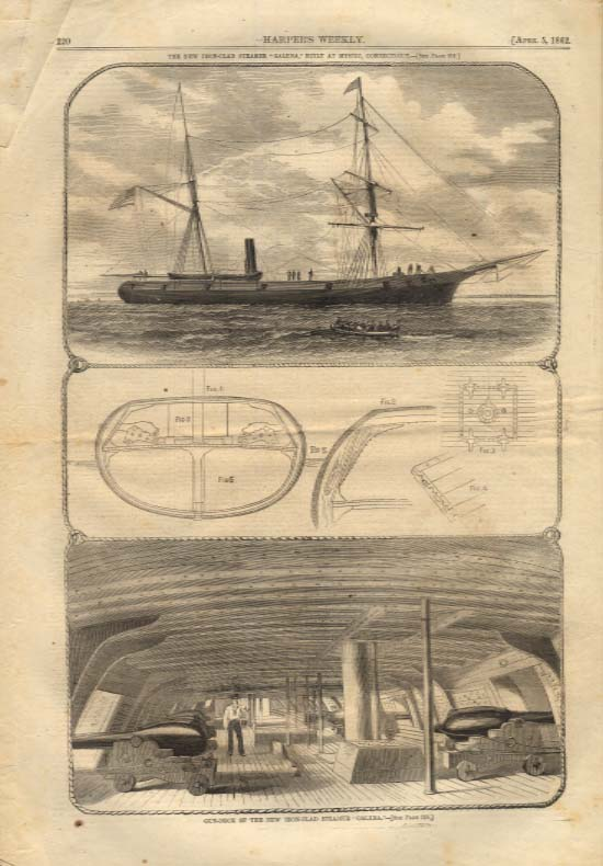 Image for Harper's Weekly ORIGINAL Iron-Clad Steamer Galena built Mystic CT 4/5 1862