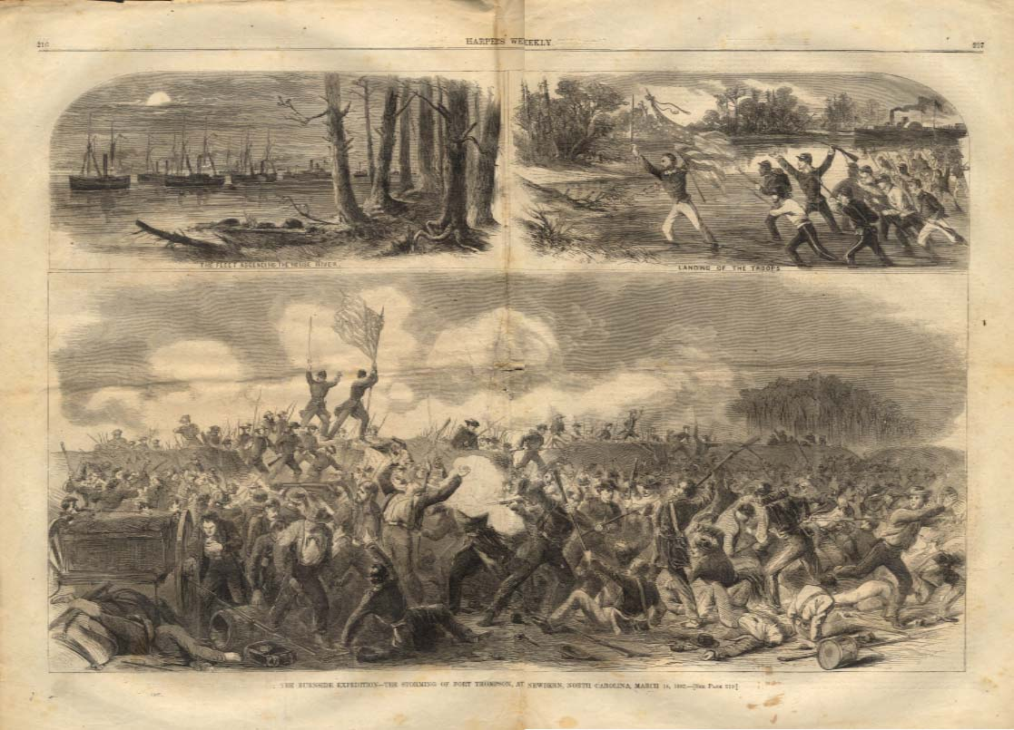 Image for Harper's Weekly ORIGINAL Burnside Expedition Ft Thompson Newbern NC 3/14 1862