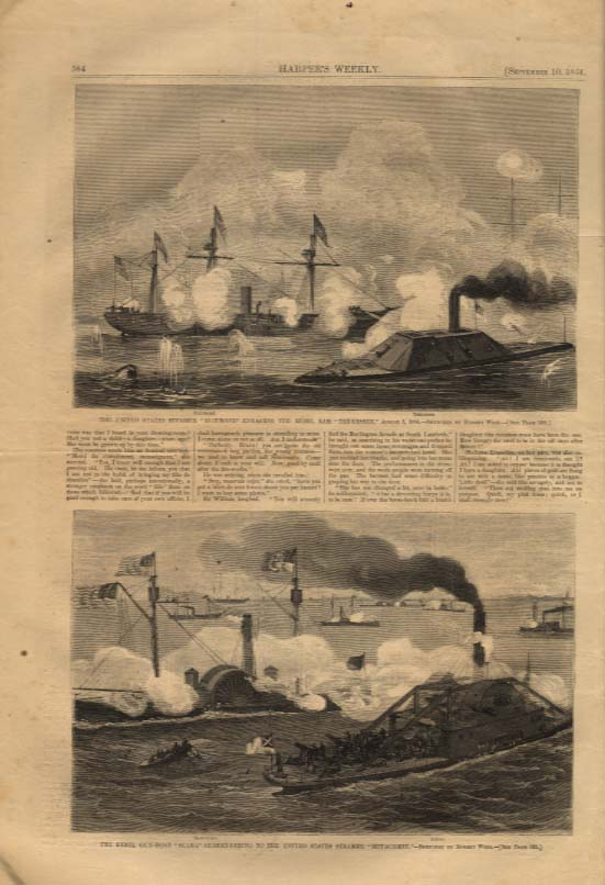 Image for Harper's Weekly ORIGINAL USS Richmond vs Rebel Tam Tennessee + 9/10 1864