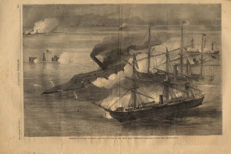 Image for Harper's Weekly ORIGINAL Farragut's at Mobile Bay, Ram Tennessee taken 9/10 1864