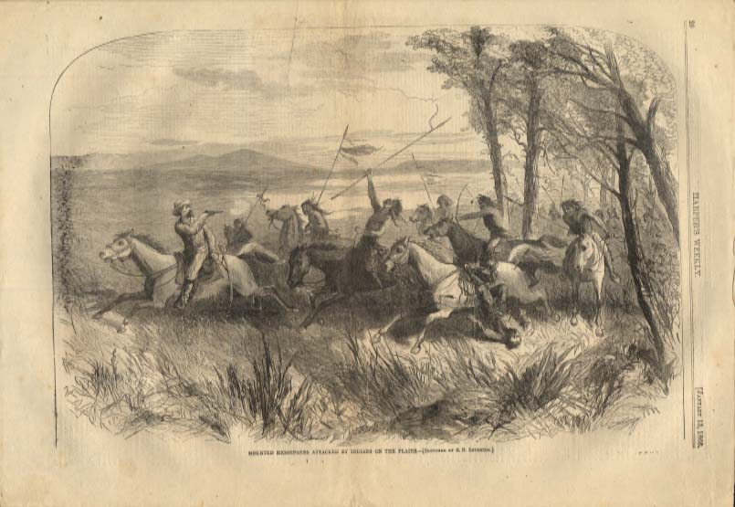 Image for Harper's Weekly ORIGINAL Plains Indians attack Messengers 1/13 1866