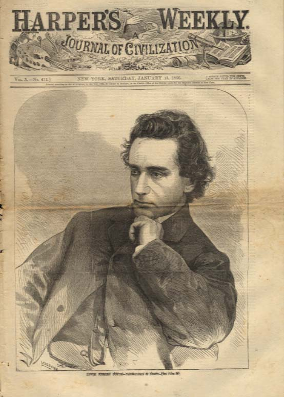Image for Harper's Weekly ORIGINAL Edwin Forrest Booth photo by Mathew Brady 1/13 1866