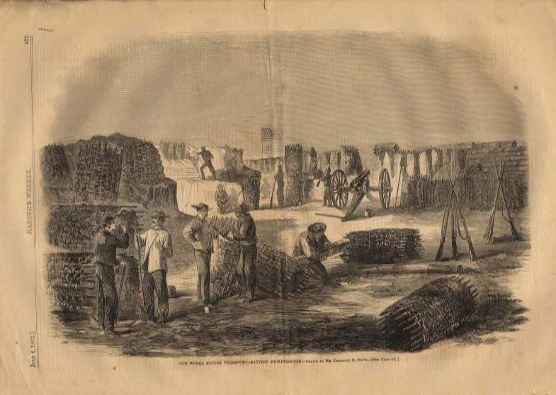 Image for Harper's Weekly ORIGINAL Battery Hickenlooper ready Battle of Vicksburg 7/4 1863