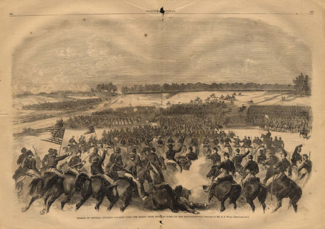 Image for Harper's Weekly ORIGINAL Buford's Cavalry at Beverly Ford Rappahannock 7/4 1863