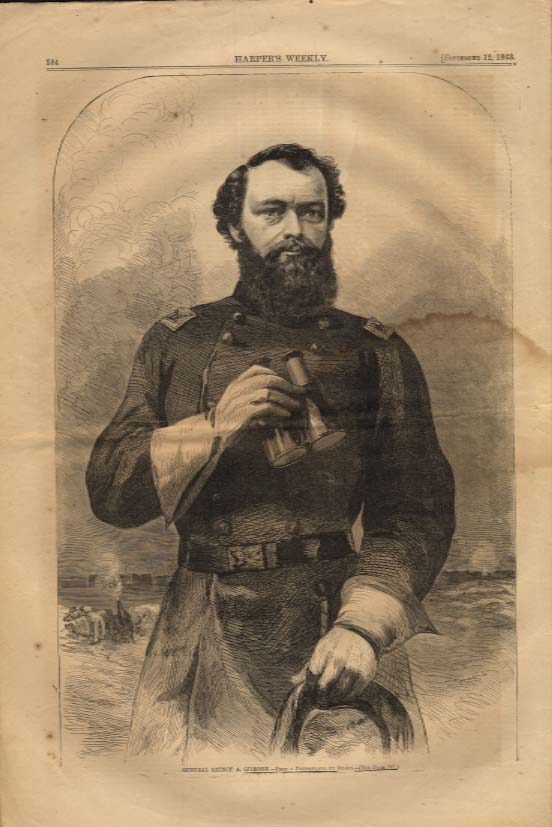 Image for Harper's Weekly ORIGINAL General Quincy A Gilmore by Mathew Brady 9/12 1863