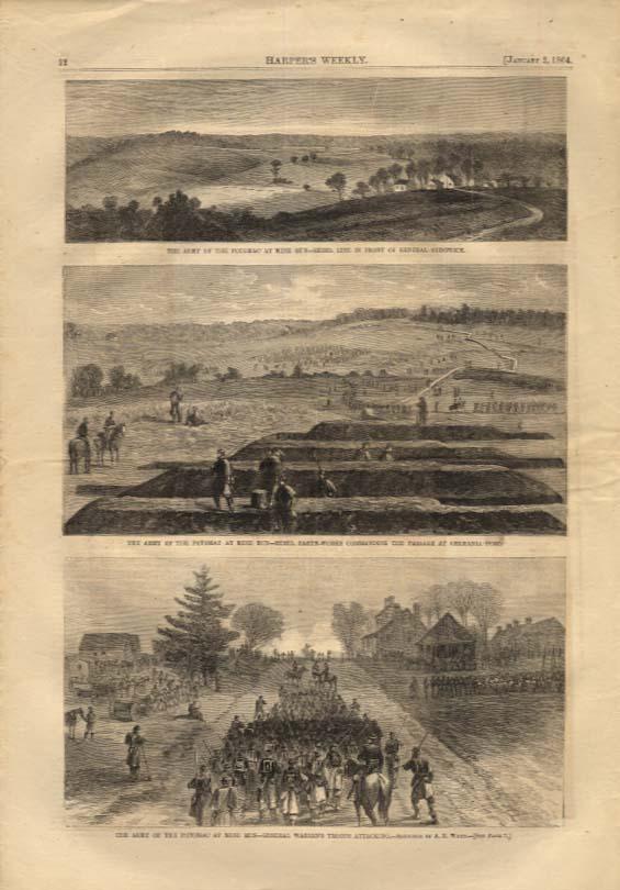 Image for Harper's Weekly ORIGINAL Army of Potomac at Mine Run 3 views 1/2 1864