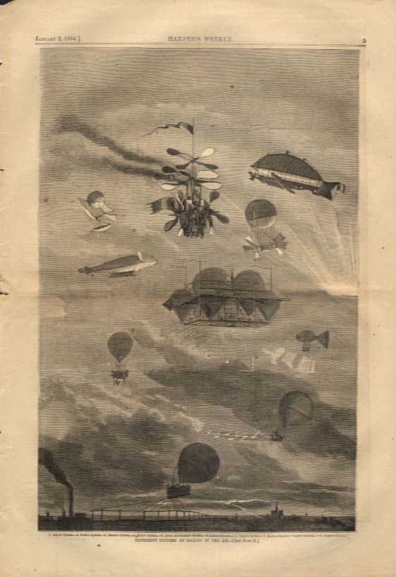 Image for Harper's Weekly ORIGINAL Ballooning Systems Alban Petin Henin Jarcot 1/2 1864