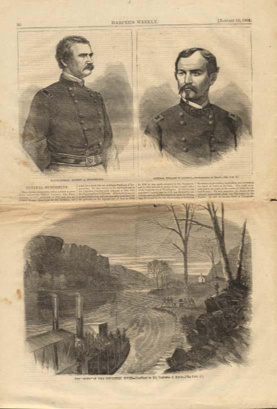 Image for Harper's Weekly ORIGINAL Gen Andrew Humphreys Cen Averill by Brady 1/16 1864