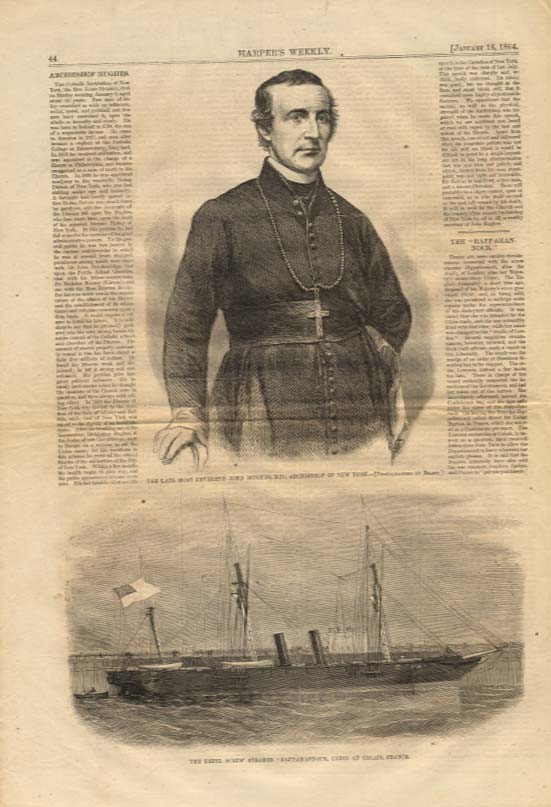 Image for Harper's Weekly ORIGINAL CSS Rappahannock at Calais / Rev John Hughes 1/16 1864