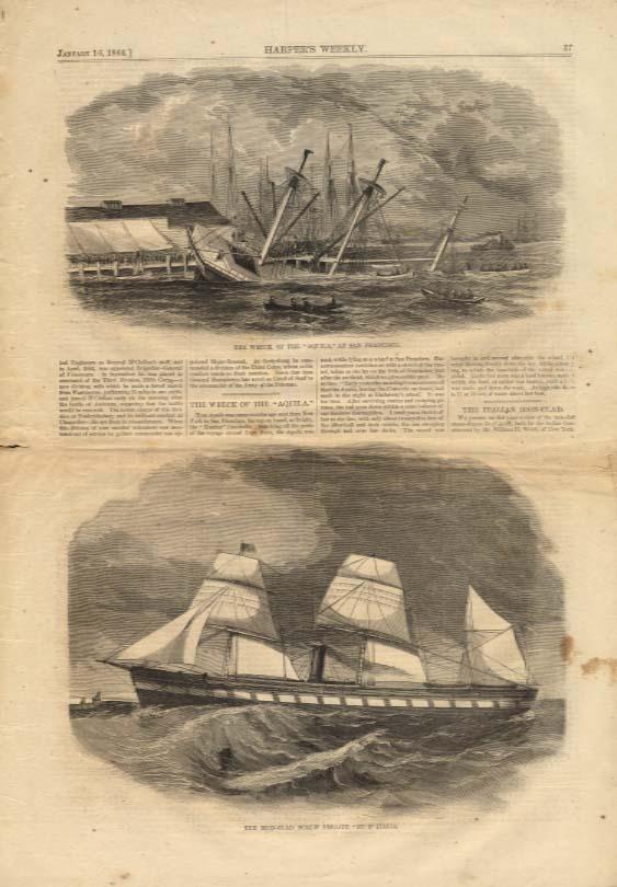 Image for Harper's Weekly ORIGINAL Italian iron-clad Re D'Italia SS Aquila wreck 1/16 1864