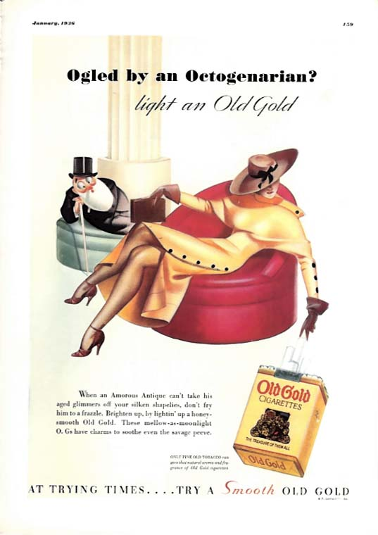 George Petty Girl pin-up Ogled by an Octagenarian? Old Gold Cigarettes ad 1936